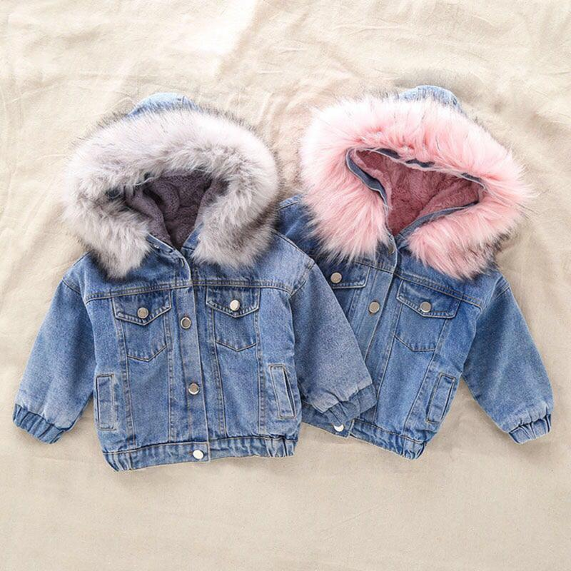 2020 Toddler Kids Girls Denim JeanS Winter children clothing Baby girl Faux Fur Warm Thick Denim Hooded Coat Outwear Jackets