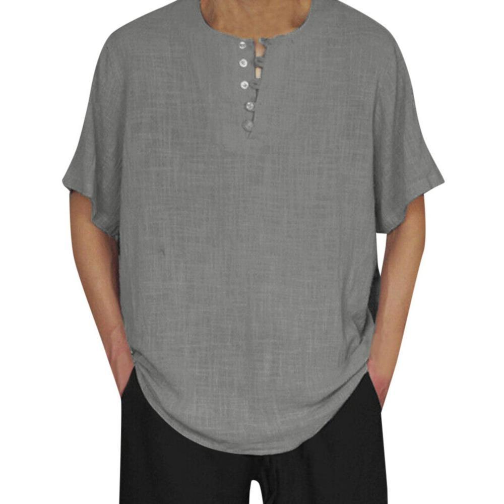 Sommer-Shirt Camisa Social Masculina Male Baumwolle Leinen Short Sleeve Solid Color Knopf-beiläufige Retro Männer Tops Baggy Bluse