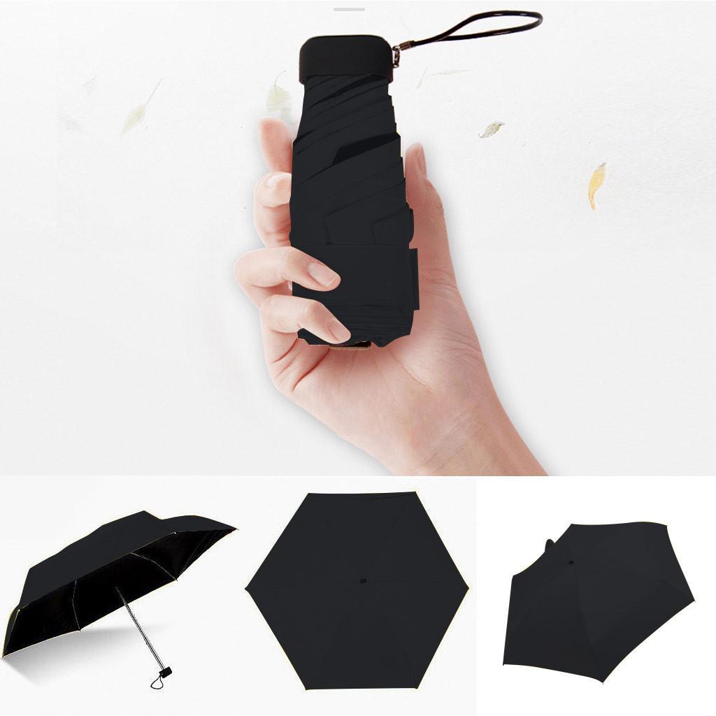 Mini Şemsiye Yağmur Kadınlar Windproof Dayanıklı 5 Katlama Güneş Şemsiye Taşınabilir Güneş Düz Hafif Cep Şemsiye 19DEC10