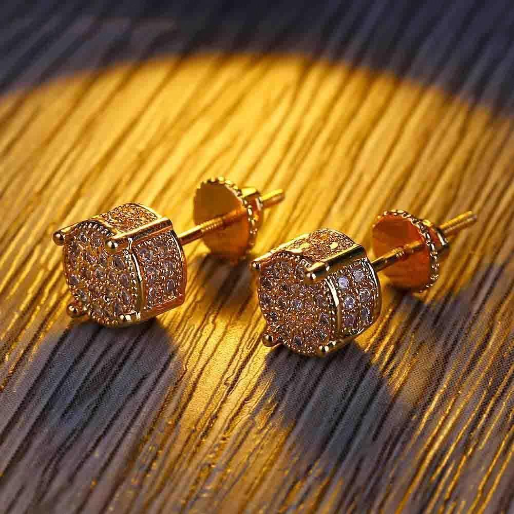 Migos Europe and America Hiphop mens square full diamond zircon diamond stud earrings female ins with the same paragraph earrings tide50e3#