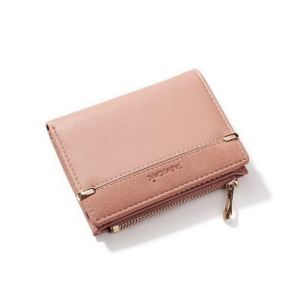fashion New Women's Zero Wallet Fashion Zipper Button Hand Small Card Bag Grinding Stitching Short Wallet Girls