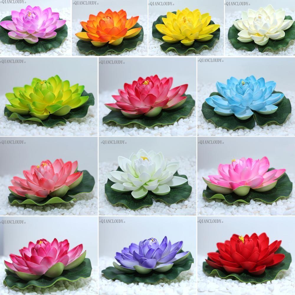 4 pezzi 10 cm Fiore artificiale galleggiante per stagno ninfea
