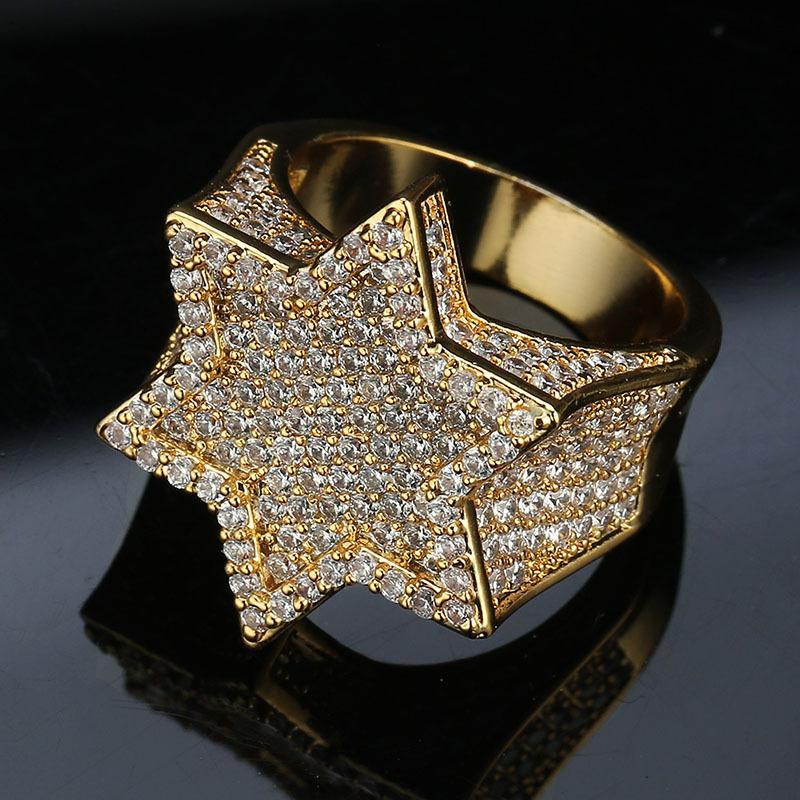 Luxo Designer Jóias Mens Anéis Ouro Verde Prata Hip Hop jóia do casamento anel de noivado para fora congelado Bling diamante Campeonato Hexagon DJ
