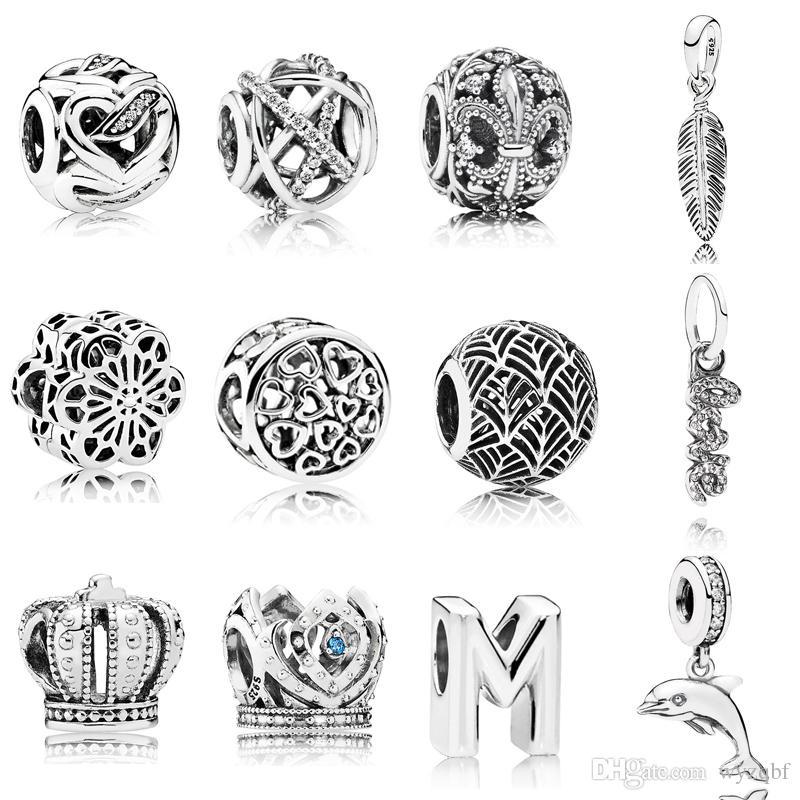 925 Sterling Silver Sparkling Lines Openwork Charm Single Feather Pendant Fit Pandora Original Bracelets DIY Jewelry