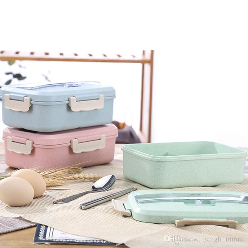 1Pcs Large Capacity Food Storage Container Students Portable Microwave Dinnerware Wheat Straw 3 Grid Lunch Box Healthy Materia HK0232