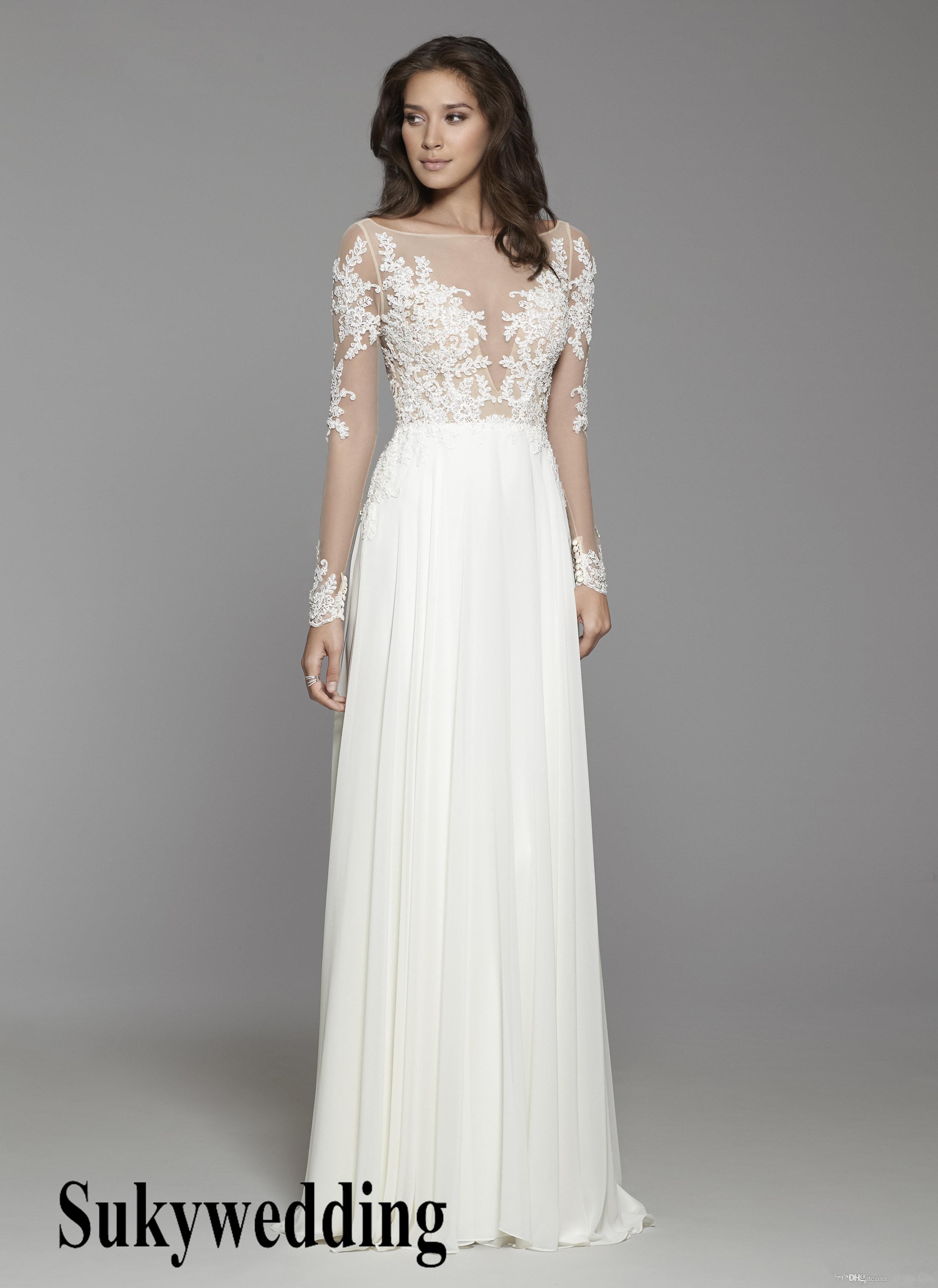 Discount 2019 Cheap A Line Bohemian Wedding Dresses Long Sleeve