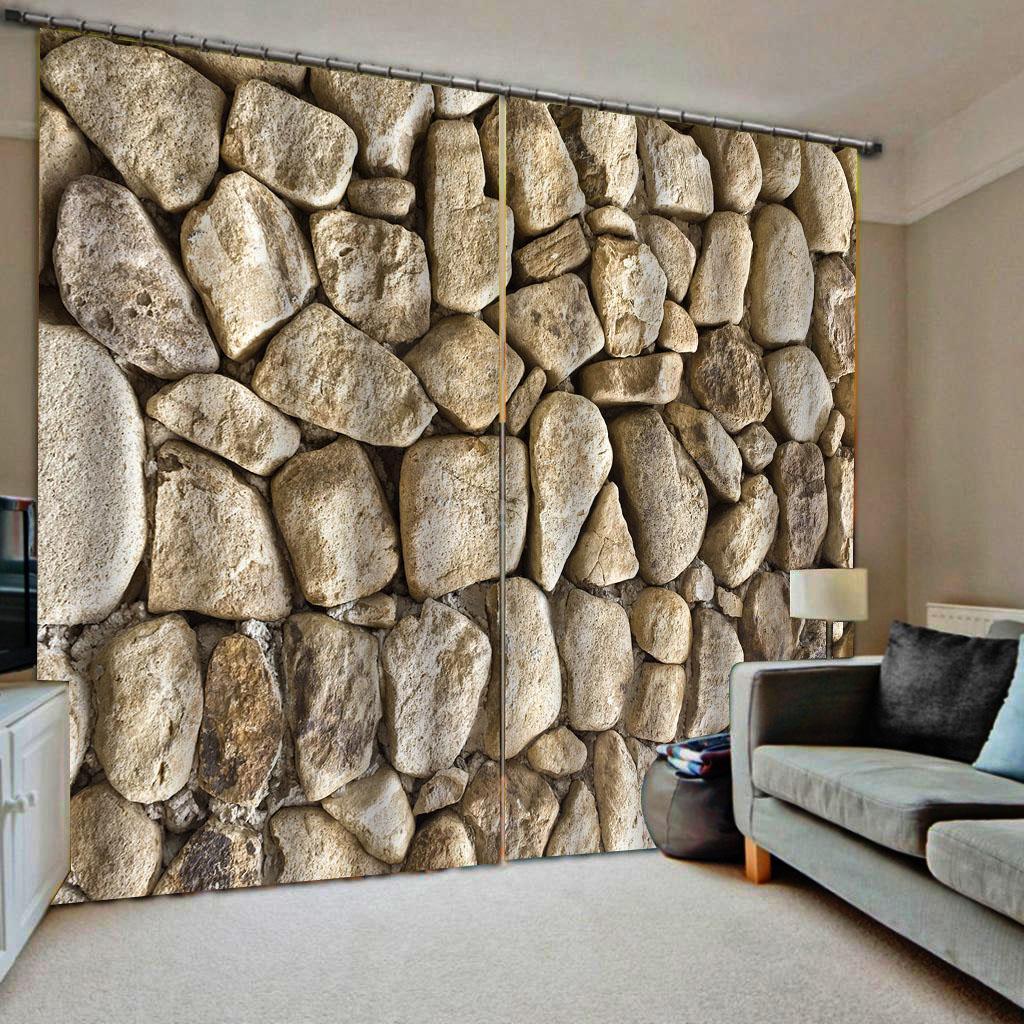 cortinas de piedra modificadas para requisitos particulares 3d cortinas simples y modernas cortinas opacas engrosamiento de la historieta linda frescas