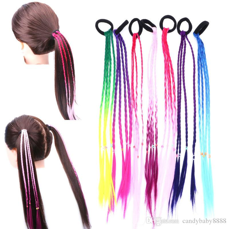 Girls colourful wigs ponytail hair ornament rubber bands kids hair accessory UK