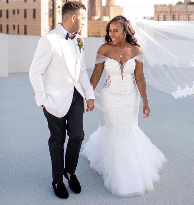 Robe de mariée Africaine Plus Taille de l'épaule Mermaid Lace dos Robe Tulle Dentelle Robes de mariée Dubaï Arabic Vestidos sur mesure