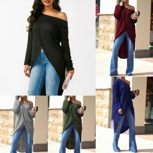 2019 New Women Summer Long Sleeve Loose Blouse Casual Spring Solid Split Shirt Skew Neck Long Tops S-XL