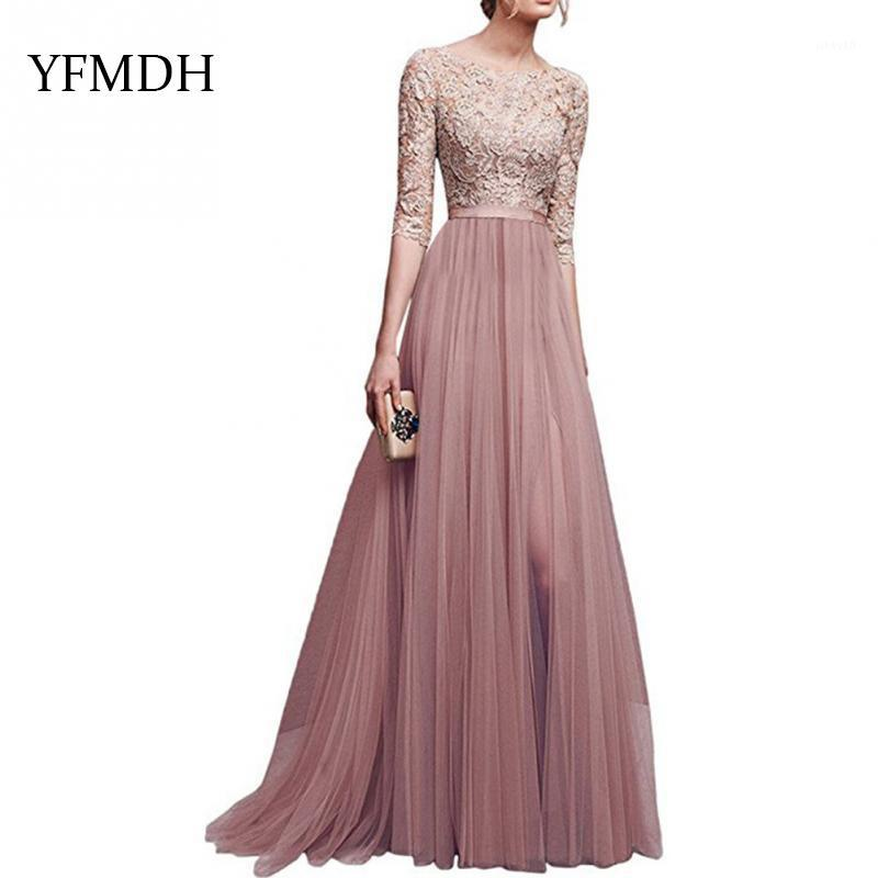 Casual Dresses 2021 Elegant Full Sleeve Chiffon Lace Stitching Floor-length Women Party Prom Evening Red Long Dress Female Clothing Clothes1