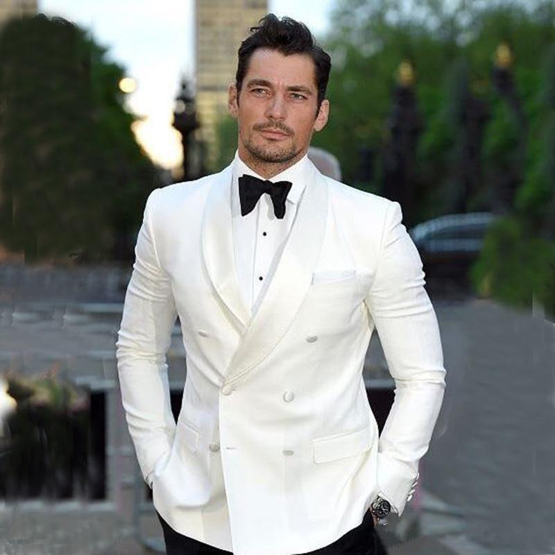 Nuevos trajes de boda de marfil para hombre Slim Fit esmoquin de boda de doble pecho Novio Desgaste Trajes de novio 2pcs chaqueta pantalones pantalones traje Homme 707