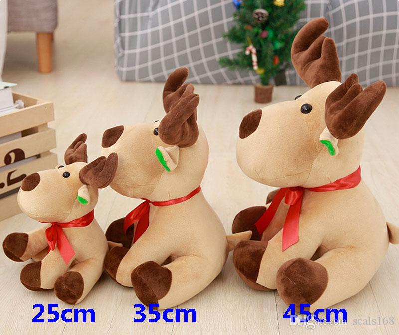 New Christmas Decorations Cute Christmas Elk Deer Animal Stuffed Plush Doll Toys Boy Girl Gift Party Favor 25CM 35CM 45CM HH9-258