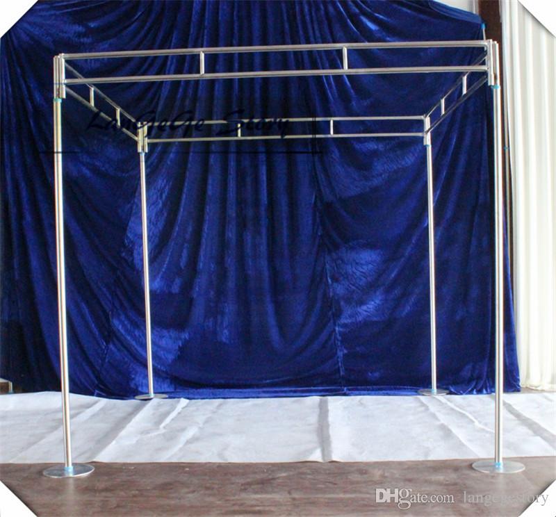 Бесплатная доставка площадь стенд четыре угла стенд полюс фон трубы 1.8 м * 1.8 м * 2.5 м регулируемая труба из нержавеющей стали труб рама