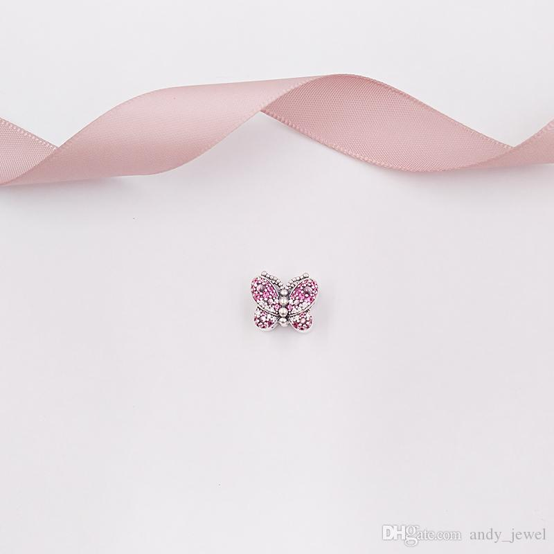 """""""Authentic 925 Sterling Silver Beads Dazzling Pink Butterfly Charm Charms Fits European Pandora Style Jewelry Bracelets & Necklace 797882NCC"""