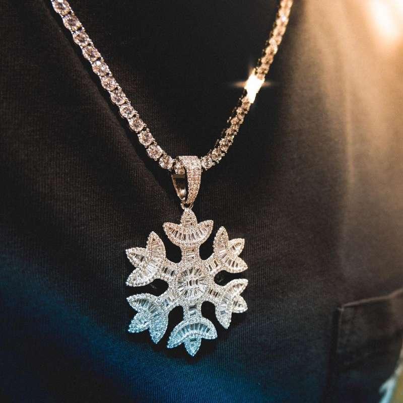 Hip hop nouveau bijoux simples couple galvanoplastie or véritable collier pendentif flocon micro zircons