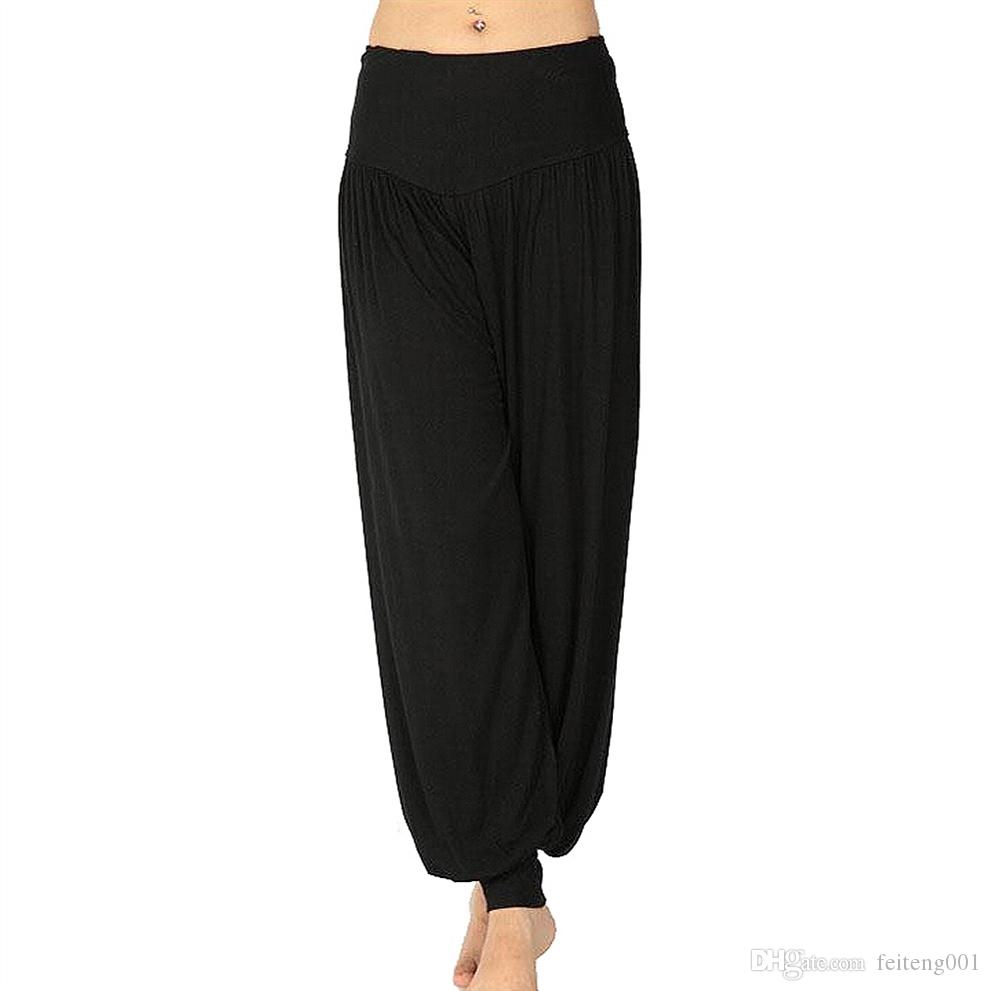 Ladies Solid Harem Yoga Sport Flare Modal Pant Belly Elastic Waist Dance Club Wide Leg Pants Loose Long Trouser-Black,M L XL XXL #368179