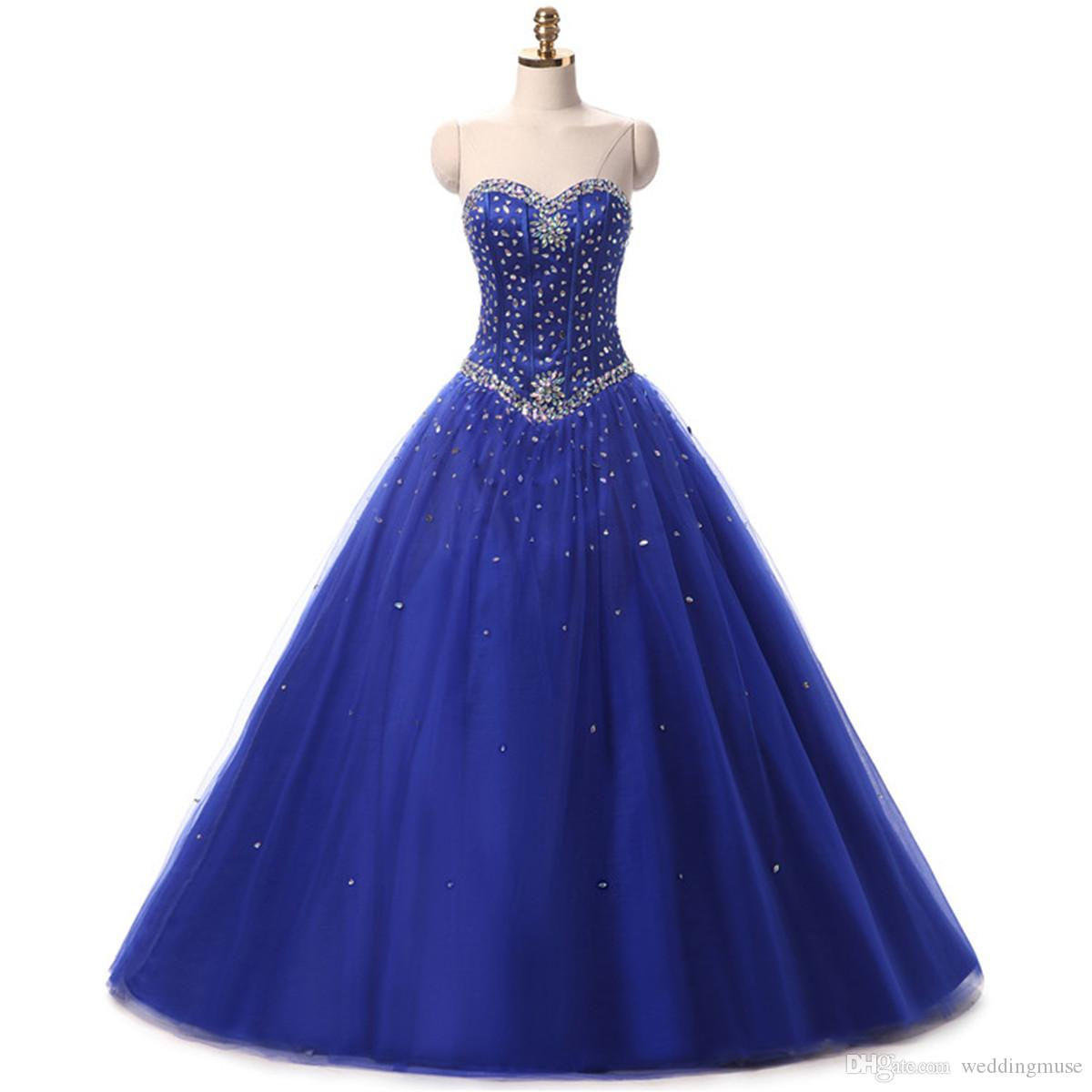Royal Blue Ball Gown Prom Dresses Quinceanera Dress With Jacket Beads Corset Fitted Fare Sweet 16 Girls Party Wear