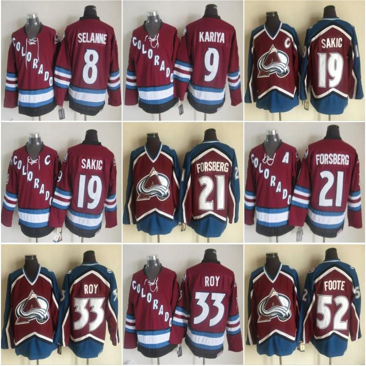 Vintage Colorado Avalanche Hóquei Jerseys 52 Adam Foote 21 Peter Forsberg 8 Teemu Selanne 9 Paul Kariya 19 Joe Sakic 33 Patrick Roy Jersey