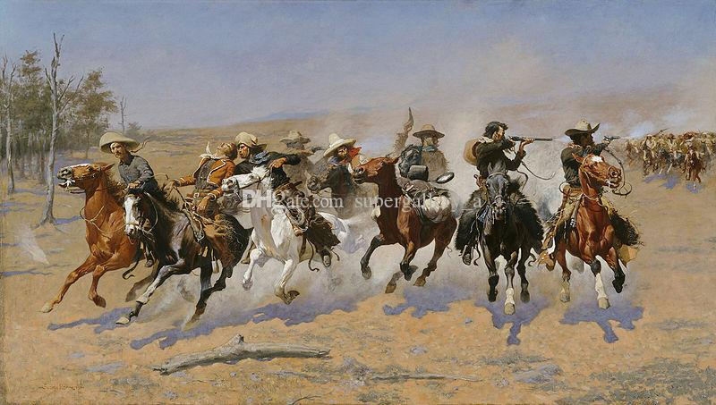 Remington Frederic A Dash for the Timber Home Wall Art Decor Handpainted &HD Print Oil Painting On Canvas Wall Art Canvas Pictures 190830