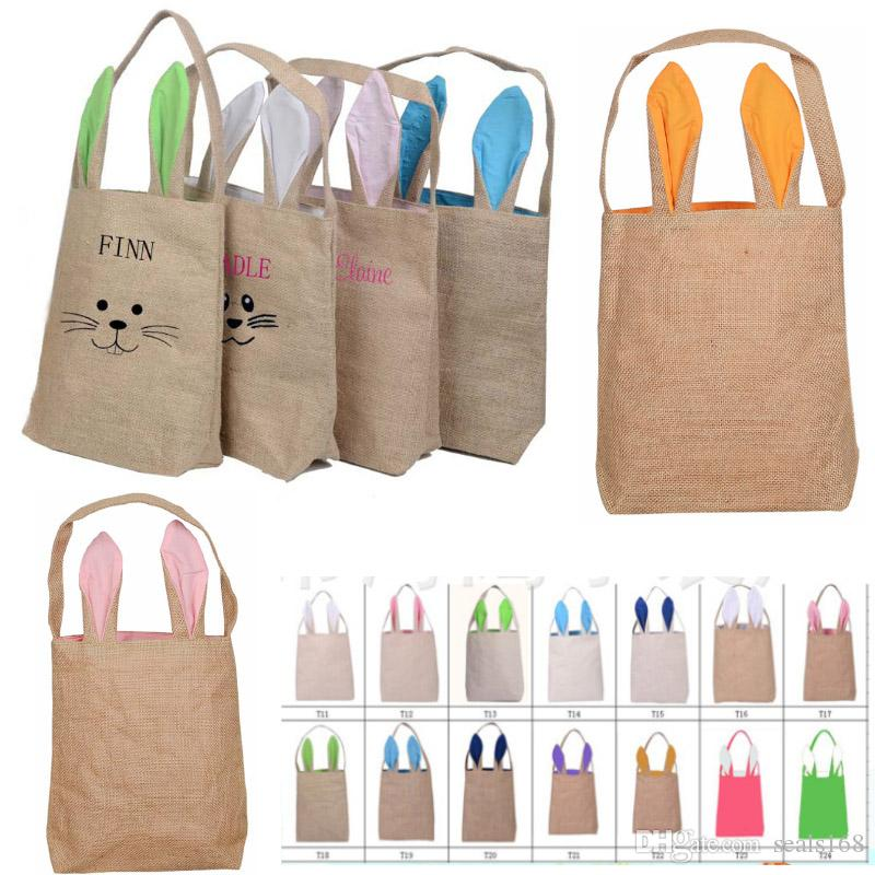 New Easter Rabbit Ears Bags Canvas Egg Packing Handbag Bags For Children Adult Festival Party Christams Halloween Gift 25.5*30.5*10cm PX-B36