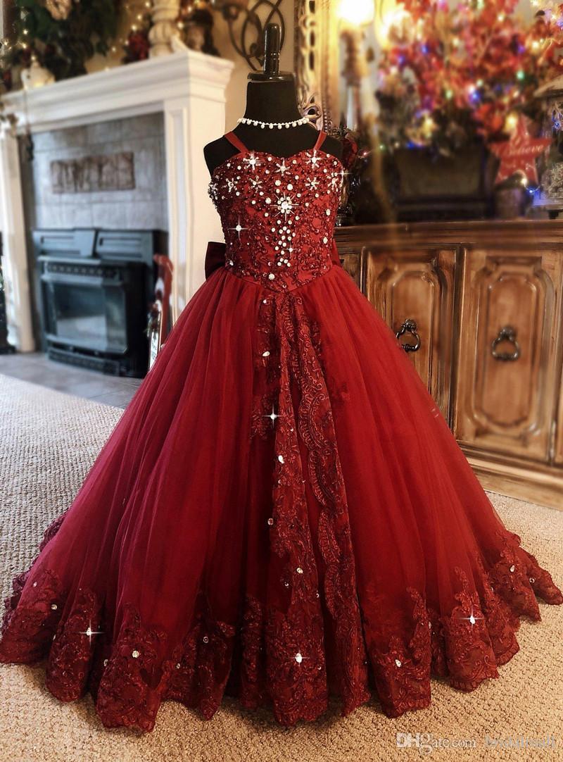 Rojo oscuro con cuentas de tul muchachas de flor vestidos para la boda pequeña fiesta de cumpleaños de los niños del vestido de vestidos de primera comunión de encaje niñas desfile Vestidos