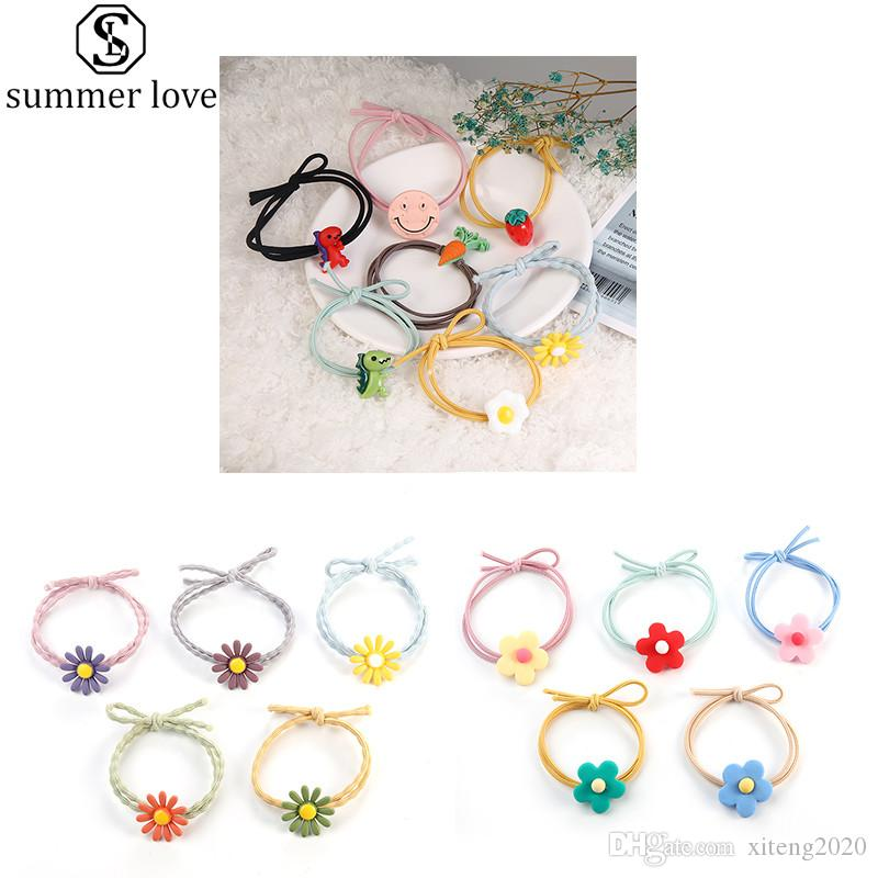 New Arrival Double Elastic Hair Bands Cute Flower Elastic Rubber Rope Headwear For Girls Chirdren Jewelry Accessories-Z