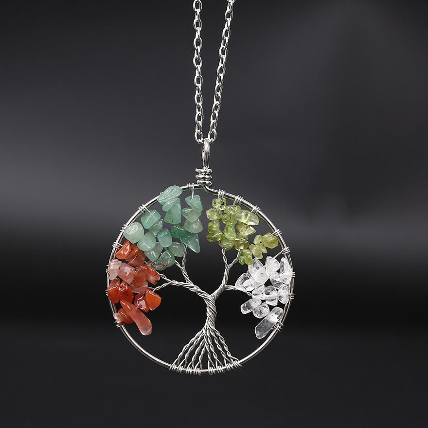 Tree of Life Pendant Charm Necklace Colorful Life Tree Root Rope Chain Necklaces Round Beads Women Natural Stone Blue Gem Crystal Jewelry