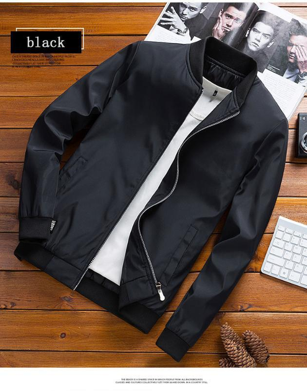 Drop Shipping Men's Zipper Jacket Male Casual Slim Fit stand-up collar fashion black Coat Men Clothing 6XL 2020 new clothing