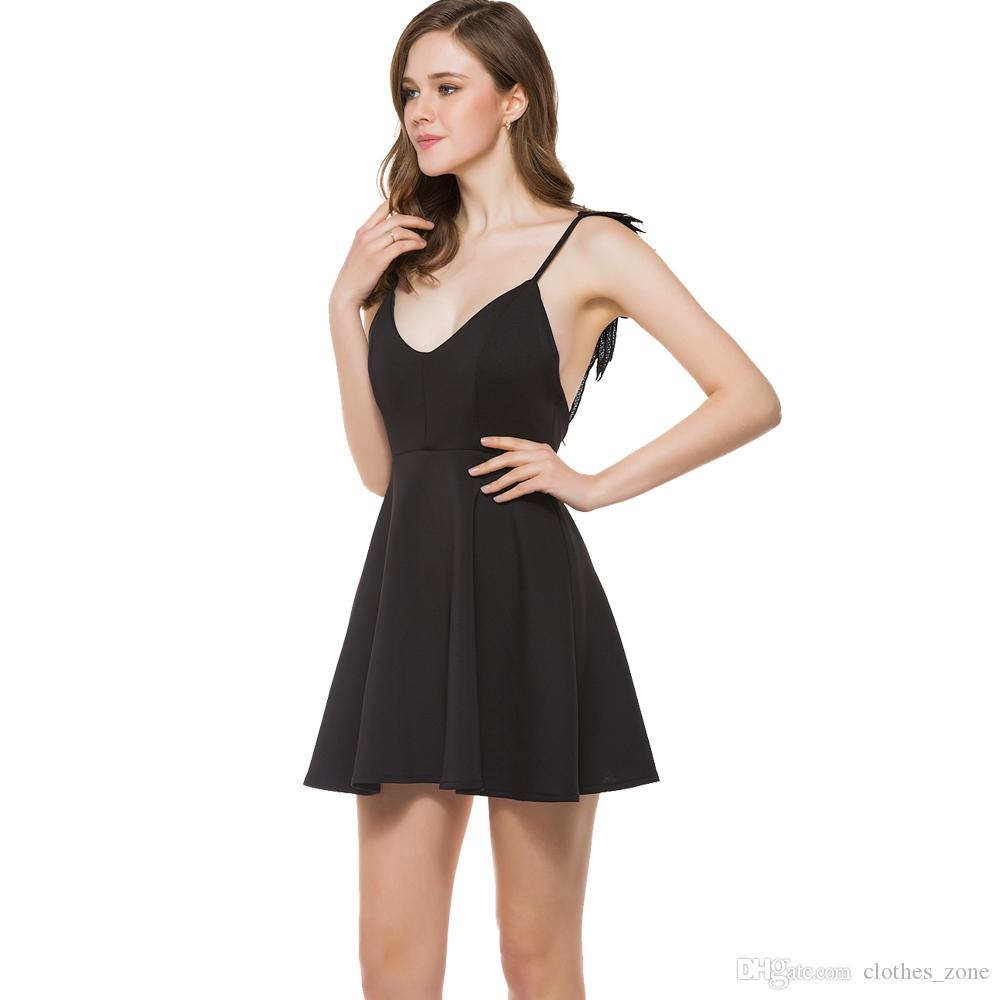 sexy dresses for women spaghetti strap deep v neck Black a line Three-dimensional wings party holiday lady mini summer fashion dress