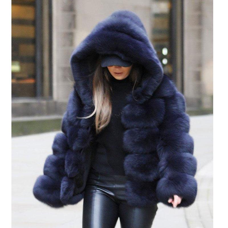 New Women Windbreake Jacket Hooded Faux Fur y Long Fur Winter Coat Women Loose V Neck OverCoat Thick Warm Plus Size 5XL Jacket