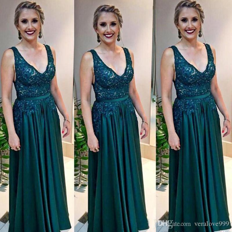 Hunter Green V Neck Mother Of The Bride Dresses Appliques Crystals Beading Arabic Formal Evening Gown Plus Size Prom Dress