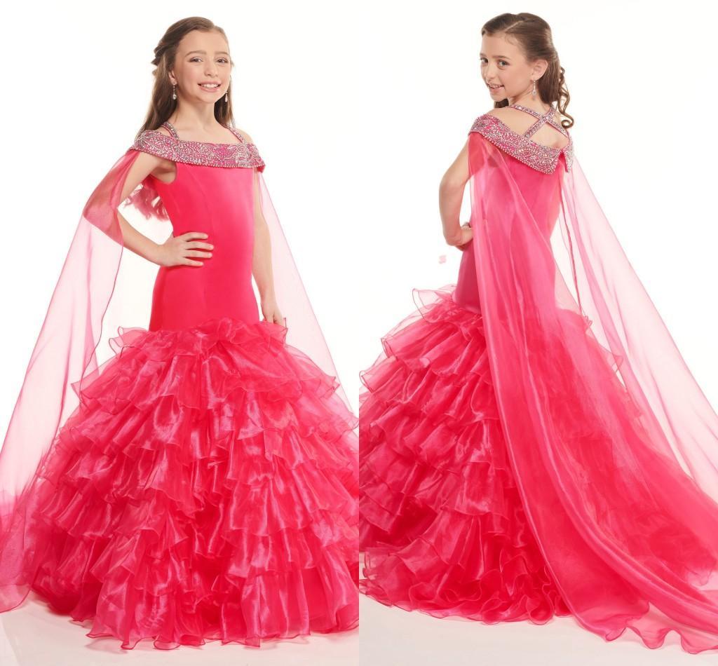 Organza del rojo de la sirena del desfile de vestidos para niñas 2020 fría hombro con cuentas diamantes de imitación mantón volante graduación de noche vestido de las muchachas nuevo