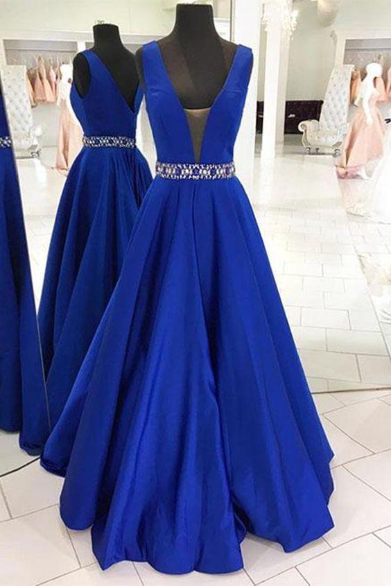 Royal Blue Vestidos de noche 2019 Nueva Dubai Árabe Vestidos de baile Vestidos de cuentas Sexy A-line Vestido de fiesta Con cuello en v Vestido De Festa