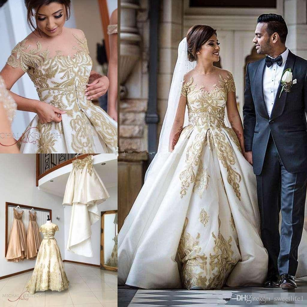 Glamorous Church Wedding Dress Illusion Sheer Crew South African Wedding  Gown Detachable Train Appliqued Custom Made Overskirts Dress From  Sweetlife20, ...