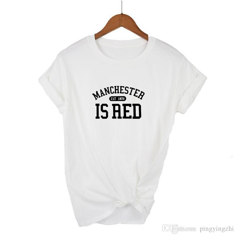 4MANCHESTER EST AED Letters Druck-Frauen-T-Shirt Baumwollbeiläufiges Lustiges T-Shirt für Dame Girl-Spitze T Hipster Tumblr Drop Ship