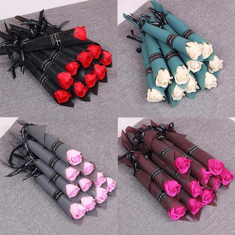 5PCS / Seti Popüler Dekorasyon Scrapbooking Düğün Çiçek Gül Çiçek Çok renkli Sabun Sahte Gül Yapay Buket