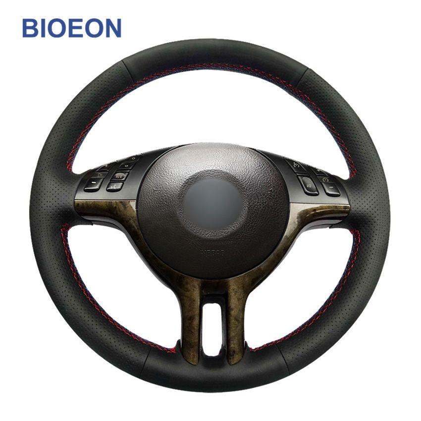 Ручной Шитье черный PU искусственной кожи Wrap автомобилей Руль Обложки для BMW E46 318i 325i 330Ci E39 X5 E53 Z3 E36 / 7 E36 / 8