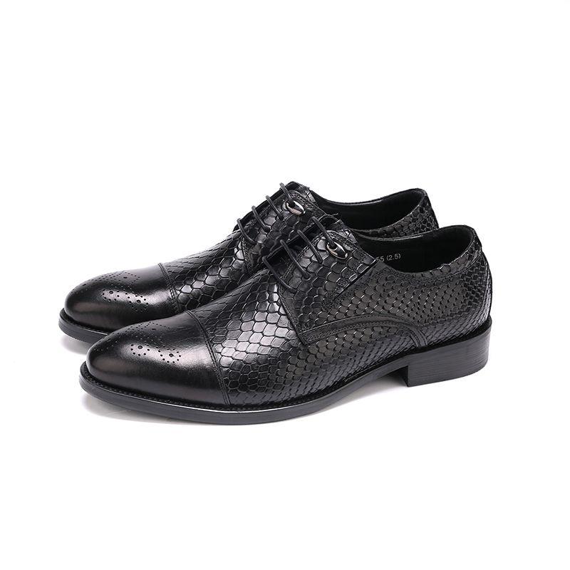 Large Size EUR45 Serpentine Black Oxfords Mens Business Shoes Genuine Leather Dress Shoes Boys Prom Shoes