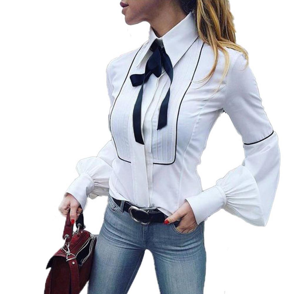 2018 إمرأة بلايز و تيشرت خمر القوس الأبيض O الرقبة كم طويل قميص أزياء مكتب سيدة الملابس Camisa الأنثى