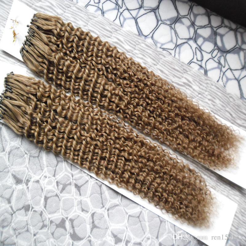 Kinky encaracolado Micro Loop Extensões de Cabelo Micro Bead Humano Hair1g / strand Mirco Loop Anel de Cabelo 100% remy extensões de cabelo humano 200g