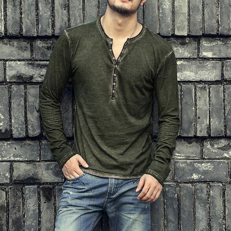 NIBESSER мужчины повседневная воротник футболка высокое качество небольшой V-образным вырезом топы старинные с длинным рукавом футболки мода уличная одежда