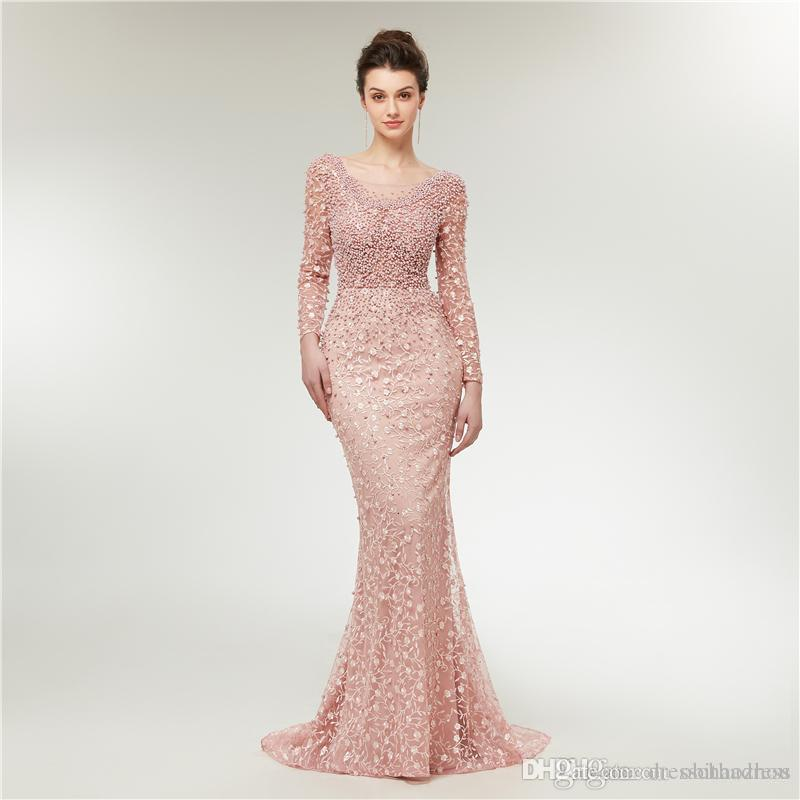 Beautiful Sweet Pink Prom Dresses Backless Lace Sewn Pearl Mermaid Evening Dresses Holiday Party Dress
