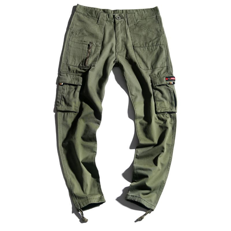 Streetwear Casual Cotton Full Length Loose Men Cargo Pants 2018 Autumn Safari Style Sweatpants Joggers Trousers Big Size 28-38