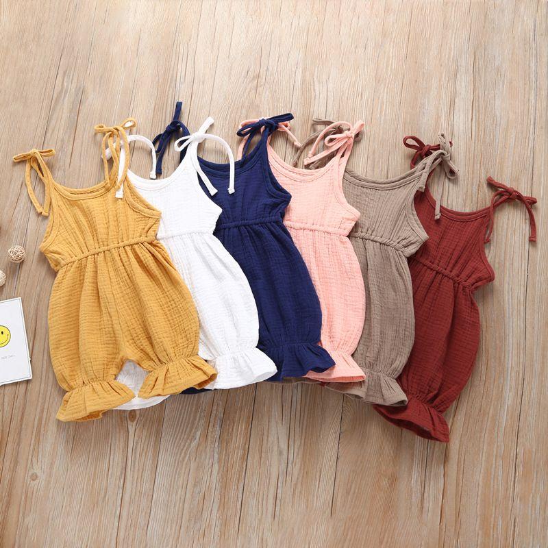 Yenidoğan Bebek Düz renk romper Toddler sapan Tulumlar 2019 yaz Ruffles tek parça çocuklar Tırmanma giysi 6 renkler C6317