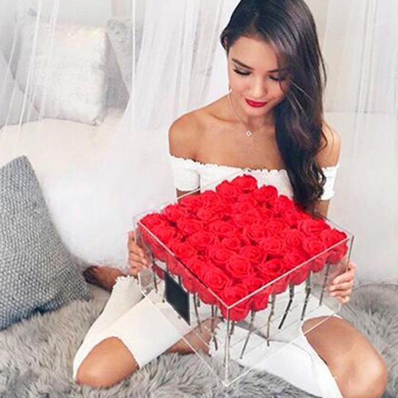 Transparent Acrylique Rose Fleur boîte avec couvercle du compartiment Extra Large Rose Boîte à fleurs avec la couverture romantique de fleurs fraîches keep