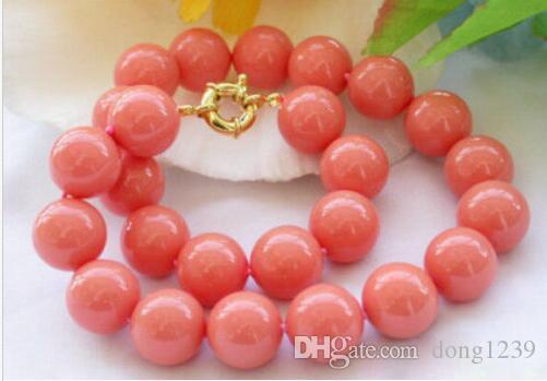 Nouveau collier de perles rondes de corail de la mer du sud de 8 mm véritable