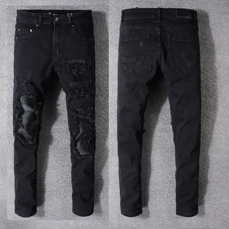 18SS Nouveau style français Fashion Jeans Homme de haute qualité Couleur Bleu Skinny Jeans épissé Ripped High Street Denim Biker Jeans Détruit 08