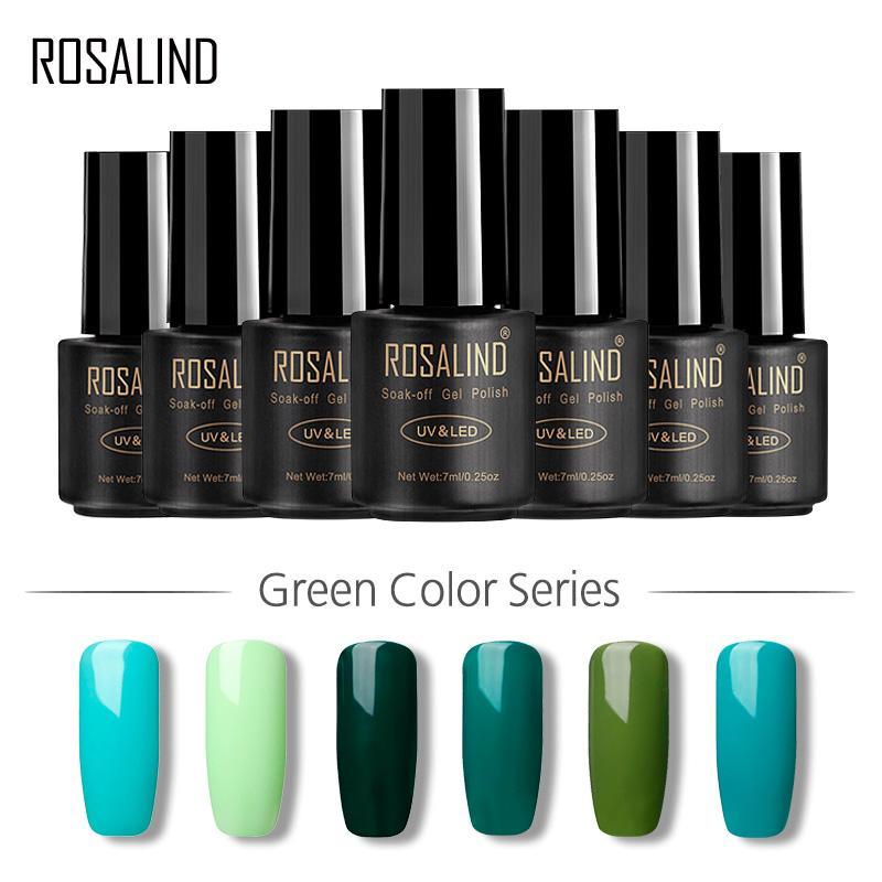 ROSALINDA Gel 1S 7ML Serie Pure Color Color Verde Soak-Off Semi Vernis UV Permanente LED manicura de gel del brillo de la laca Lacas