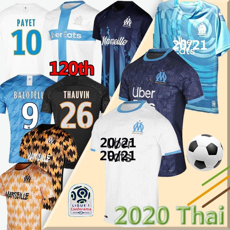 19 20 Olympique de Marseille camisa de futebol OM 2019 2020 maillot de pé PAYET Thauvin 120 anos camisa de futebol 120º aniversário tailândia